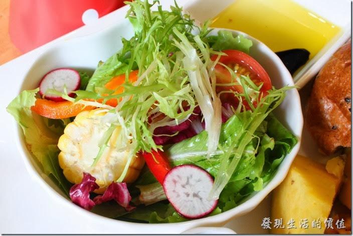 台南-PICTURESQUE早午餐。早午餐附的野菜沙拉,使用白芝麻醬,淋再沙拉上很好吃很對味,但醬汁有點太濃稠了,只能勉強淋在最上面一層。沙拉裡頭有蘋果玉米、羅勒、玉女蕃茄、煮過的南瓜、櫻桃蘿蔔、甜椒…等,個人對它的南瓜非常稱讚,入口即化呢!
