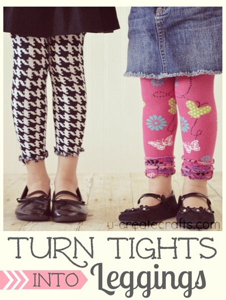 Tights into Leggings Tutorial at u-createcrafts.com