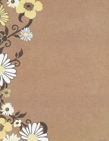 Brown kraft yellow flowers spring floral paper stock 2