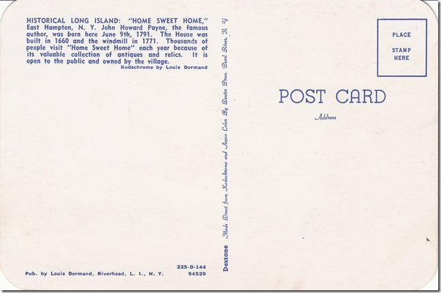 John Howard Payne Home - Historical Long Island Postcard pg. 2