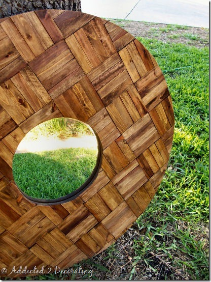 decorative mirror made of wood shims 2