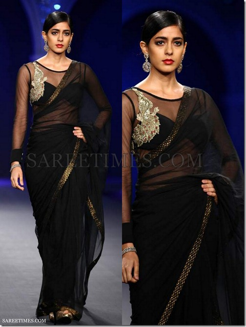 Varun_Bahl_Black_Georgette_Saree