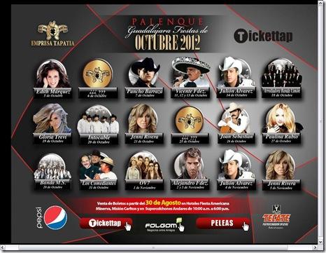 cartelera de conciertos en palenque fiestas de octubre 2012 fechas horarios y precios de boletos