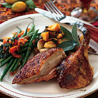 Duck Stuffed with Chicken Liver, Candied Orange, and Pears