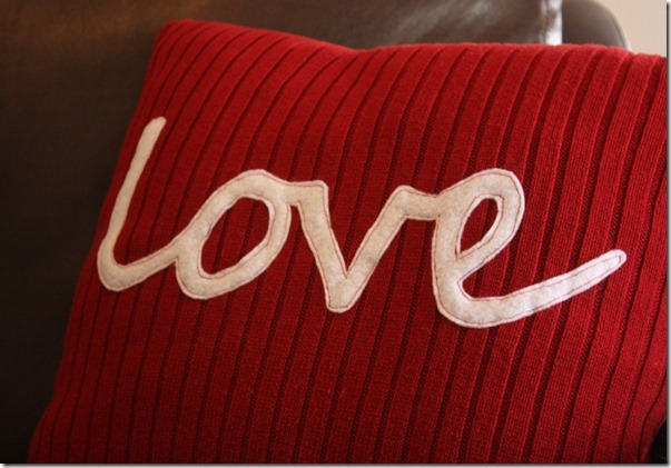 love sweater pillow