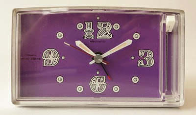Diehl Mini clock battery operated alarm clock purple face