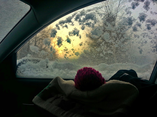 sunrise through car window