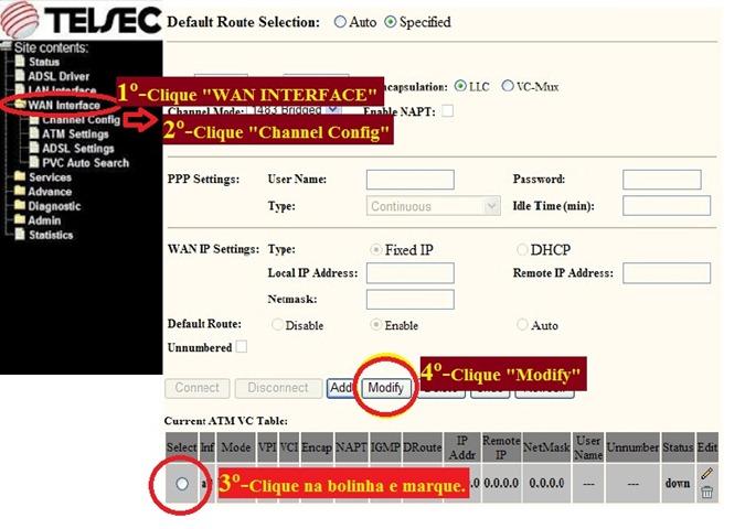 Modem TELSEC TS-9000; como configurar, rotear e os detalhes do roteador para conectar automaticamente na internet Oi-VELOX - 1