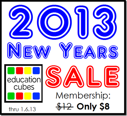 Education Cubes: 2013 New Years Membership Sale thru 1.6.13