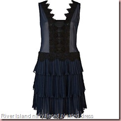 navy tiered pleated dress