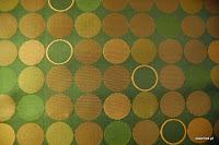 Ekskluzywna trudnopalna tkanina w kółka. Na zasłony, poduszki, narzuty, dekoracje. Brązowa, zielona.