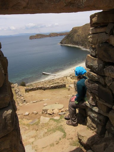 Heather taking a break on some Inca ruins at the North part of Isla del Sol.