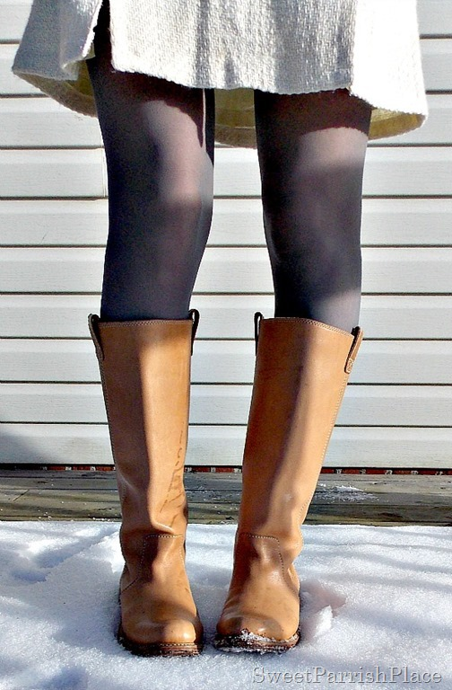 Cream skirt, , grey tights, and tan boots2