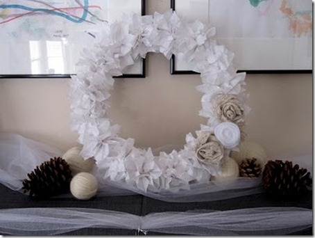 Winter wreath--wreath made from white tissue paper flowers