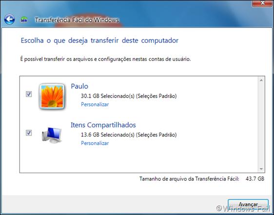 Escolha o que deseja transferir deste computador