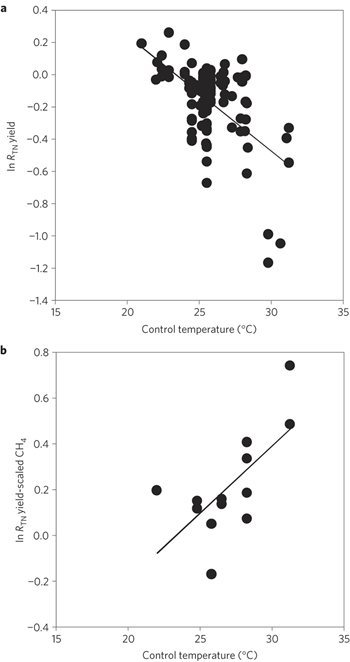 Effects of warming on rice yield and CH4 emissions versus the control temperatures in warming experiments. a, The normalized effect of warming on rice yield (ln RTN) versus the control temperature in the warming experiment. ln RTN is significantly correlated with the control temperature (r2 = 0.30,p<0.01). b, The normalized effect of warming on yield-scaled CH4 emissions (ln RTN) versus the control temperature. ln RTN is significantly correlated with the control temperature (r2 = 0.45, p = 0.01). Groenigen, et al., 2012