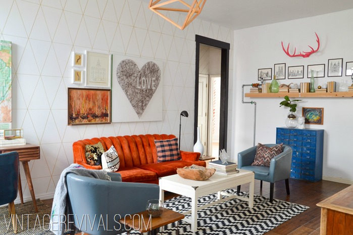 Orange Tufted Couch Living Room Makeover @ Vintage Revivals