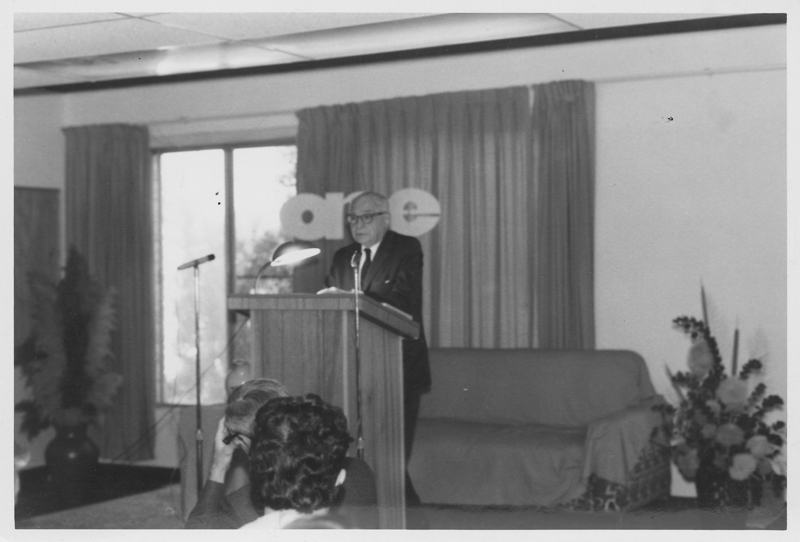 Dr. Harry Benjamin, noted medical doctor for transgender patients, speaks at ONE Incorporated. September 21, 1969.
