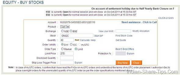 ICICIdirect order