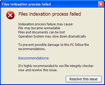 Files Indexation Process Failed