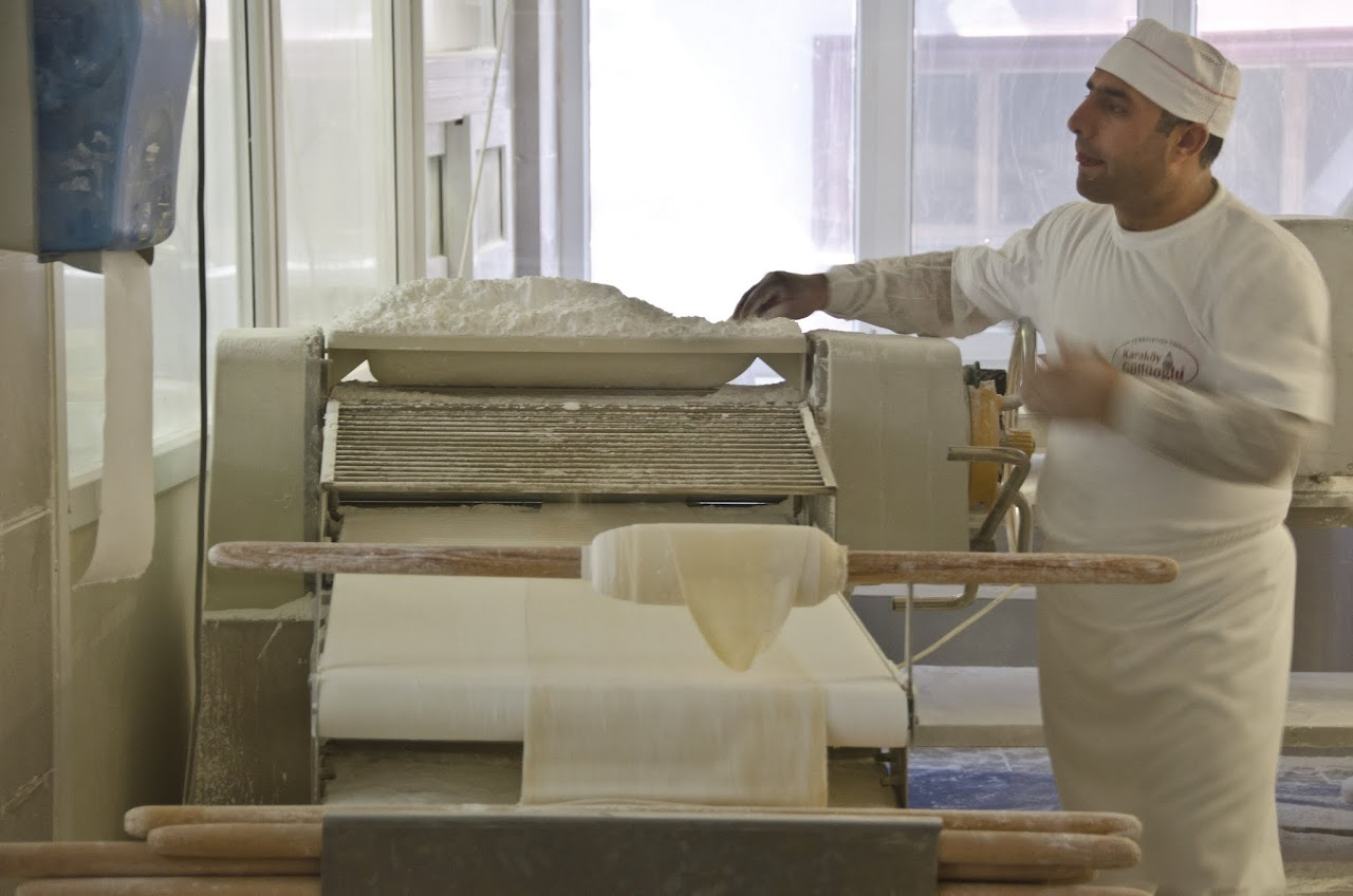 Dough rolling by machine