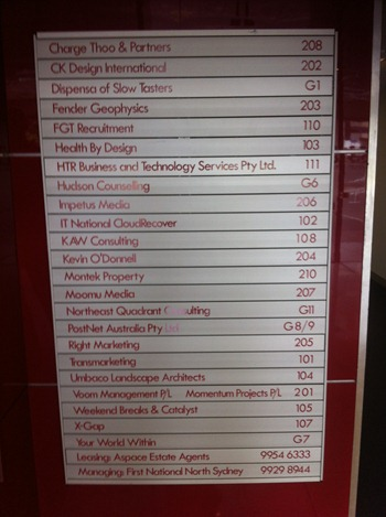 Directory showing no suite 106 listed