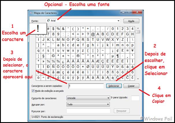 Selecionando e copiando um caractere no Mapa de Caracteres