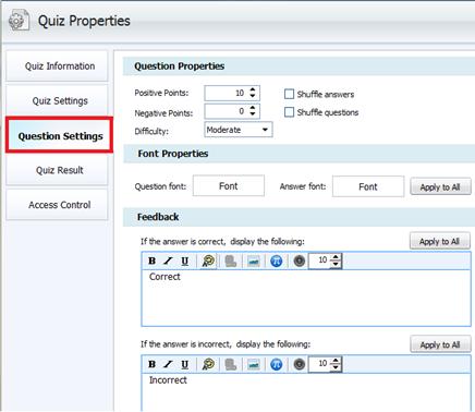 quiz properties ตั้งค่าต่าง ๆให้กับคำถามในแบบทดสอบ