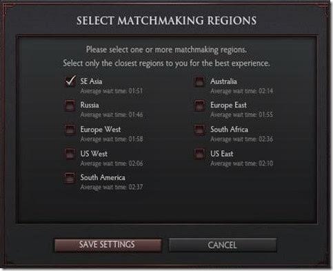 Please Select Matchmaking Region Dota 2