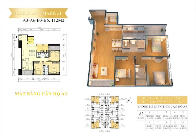 Căn 112m2, 3 ngủ, chung cư hanoi landmark 51