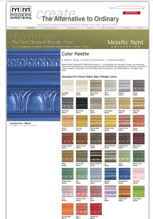 Modern Masters Shimmer Metallic Paint Colors