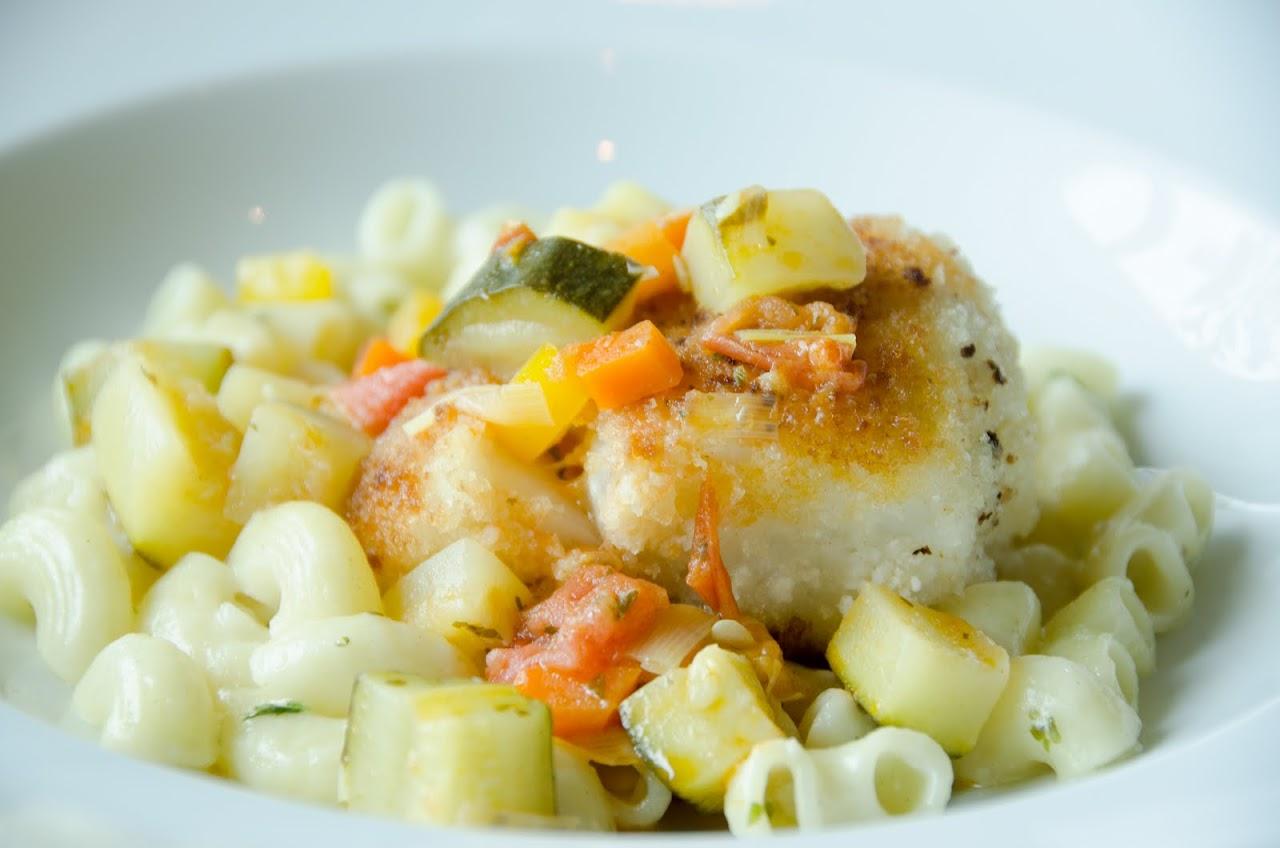 Fish on pasta
