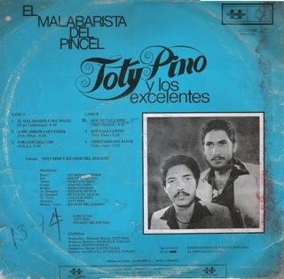 Toty Pino Y Los Excelentes  El Malabarista Del Pincel  LP Back