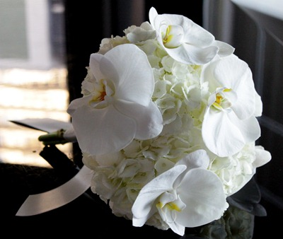 Hello Darling - Phalaenopsis orchid and hydrangea bouquet