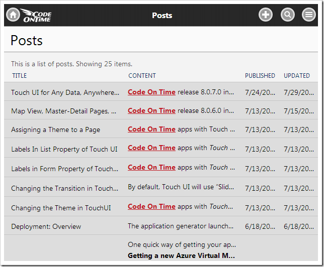 The list of posts retrieved from the web service is displayed in a list.