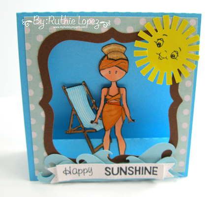 Flat Friends Boutique. Beach day. 613 Avenue Create. Window easel card. Ruthie Lopez. My Hobby My Art 3