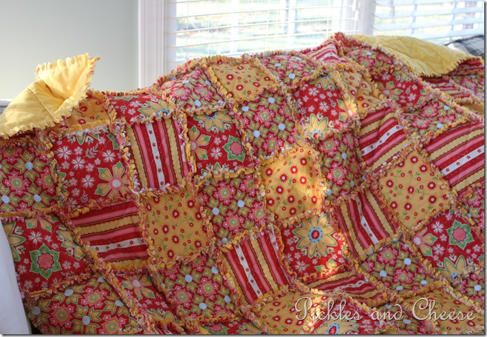 Rag Quilt Yellow and Red 019