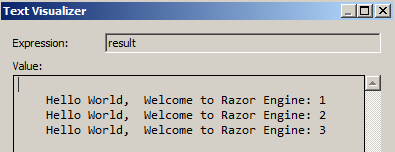 RazorEngine Output