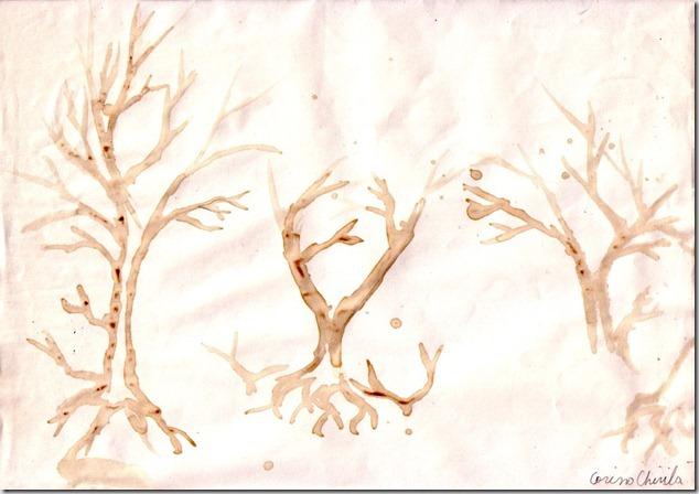 Poveste de dragoste cu copaci pictura facuta cu cafea - Tree love story coffee painting