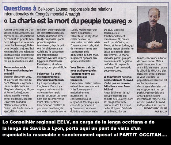 Belkacem Lounés entrevista dins Nice Matin