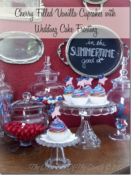 Cherry Filled Vanilla Cupcakes with Wedding Cake Frosting