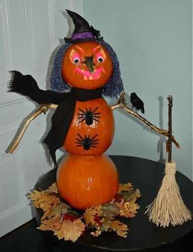 "Bobby Pearce, producer for Rosie Radio created a Halloween ""Snowman"". The Pumpkin Witch stands over 3-feet tall on a bed of autumn leaves."