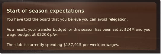 Season 8 expectations and budgets