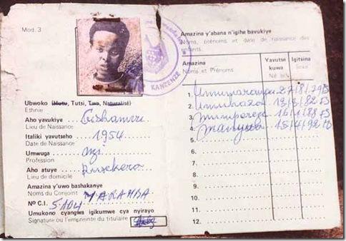 Tutsi Identity Card