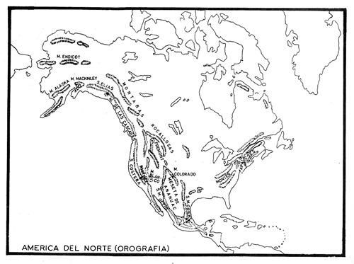 Mapa de la orografía de América del Norte