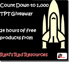 Count Down to 1,000 Followers Giveaway from Raki's Rad Resources - Get 10 top selling resources free for 24 hours once I hit 1,000 followers.