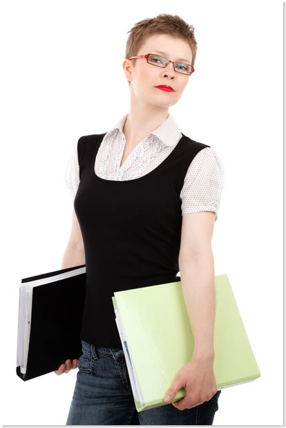 office woman with glasses