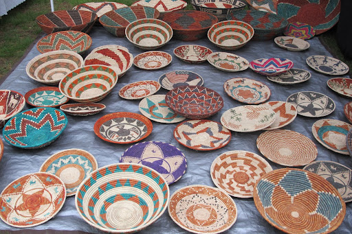 This display of African woven bowls was so colorful and interesting. Multiples of these would make a great wall display.