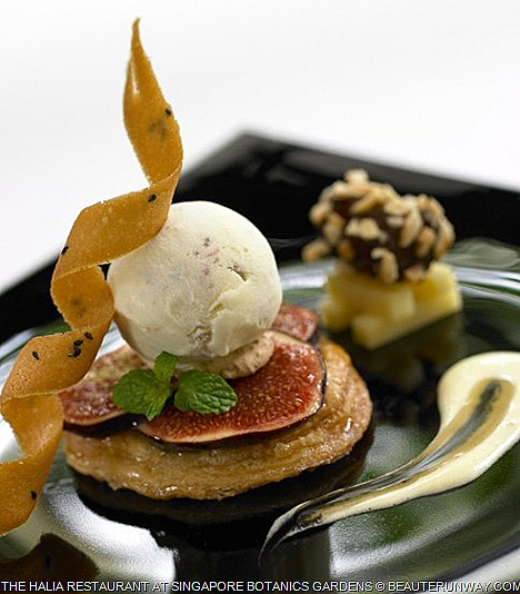 Halia Restaurant Singapore Fresh baked fig tart, bacon pear ice cream, almond date, brie cheese, sour cream