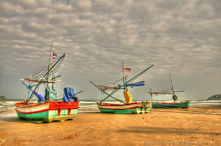 Fishing Boats on Hua Hin Beach Thailand 2